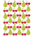 pears and cherries fresh fruits pattern vector image