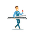 proffesional plumber man character walking with vector image vector image