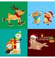 set animals winter holiday North Pole vector image vector image