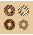 Set Of Chocolate Donuts vector image vector image