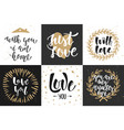 set romantic lettering posters greeting cards vector image vector image