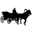 Silhouette horse and carriage with coachman vector image