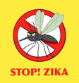 stop mosquito character with prohibited symbol vector image