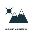 sun and mountains icon mobile app printing web vector image