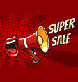 super sale banner with open mouth and megaphone vector image