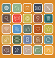 website flat icons on orange background vector image vector image