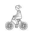 woman riding bicycle activity recreation sport vector image vector image