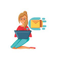 woman sitting sending mail with laptop vector image vector image