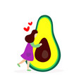 young girl hugging big avocado vector image vector image