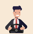 young man or businessman holding black steering vector image