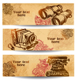 Vintage banners drawn by hand vector image