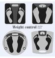 Bathroom scales and footprint vector image