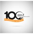 100 years anniversary logo with ribbon and hand