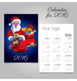 2016 holiday calendar with Santa and gifts vector image vector image