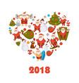 2018 new year santa cartoon character celebrating vector image