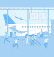 airport terminal people inside airfield airport vector image vector image