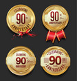 anniversary retro golden labels collection 90 vector image vector image