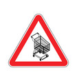 attention shopping cart dangers of red road sign vector image vector image
