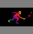 badminton male player action with racket vector image vector image