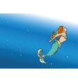 beautiful mermaid swim vector image vector image