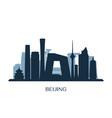 beijing skyline monochrome silhouette vector image vector image
