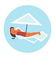 bikini woman sunbathing girl in swimsuit lying on vector image vector image
