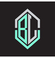 bl logo monogram with hexagon shape and outline vector image vector image