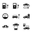 black electric car icons set vector image