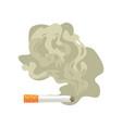 burning cigarette with smoke bad habit nicotine vector image