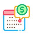 calendar coin icon outline vector image