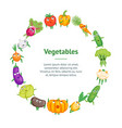 cartoon fresh healthy vegetables characters banner vector image vector image