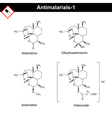Chemical structures of main antimalarial drugs vector image vector image