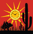 clock in the sun and cactus vector image vector image