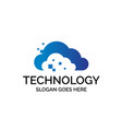 cloud computer digital logo design with geometric vector image vector image