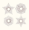 Collection of trendy hand drawn retro sunburst