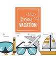 color poster of enjoy vacation with snorkel and vector image vector image
