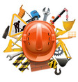construction concept with helmet vector image vector image