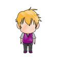 Cute little boy anime faceless color image