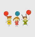 different girls with color balloons vector image