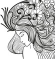 doodle young woman with flowers in hair portrait vector image vector image