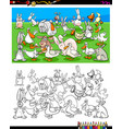 ducks and rabbits characters coloring book vector image vector image