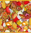 fast food seamless pattern feed ornament meat vector image vector image