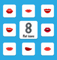 flat icon mouth set of pomade lipstick teeth and vector image vector image