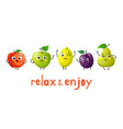 funny fruits cartoon baby fruit summer sweets vector image vector image