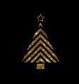 golden glitter christmas tree flat icon vector image vector image