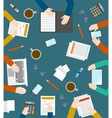 Hand and office icons on the in top view vector image vector image