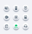 hosting data servers icons set