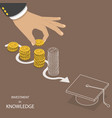 investment in knowledge flat isometric vector image