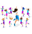 isometric of a big girl athlete against a backgrou vector image vector image