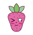 kawaii cute funny strawberry fruit vector image vector image